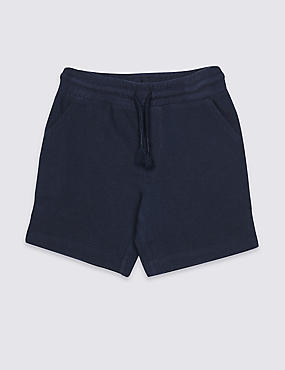 Pure Cotton Drawstring Shorts (3 Months - 7 Years), INDIGO, catlanding