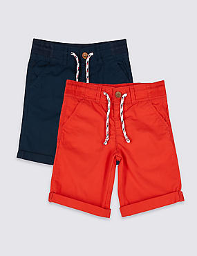 2 Pack Pure Cotton Shorts (3 Months - 7 Years), RED MIX, catlanding