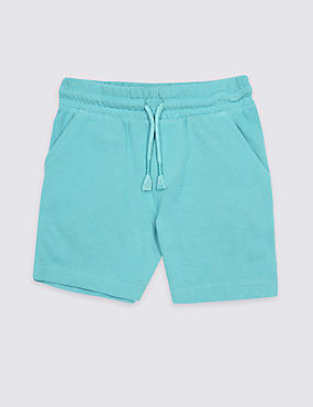 Pure Cotton Drawstring Shorts (3 Months - 7 Years), DARK TURQUOISE, catlanding