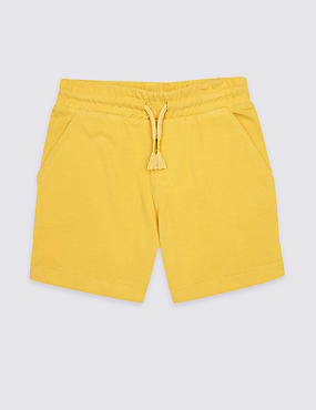 Pure Cotton Drawstring Shorts (3 Months - 7 Years), MUSTARD, catlanding