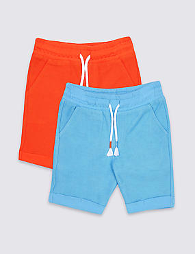 2 Pack Pure Cotton Jersey Shorts (3 Months - 7 Years), MULTI, catlanding