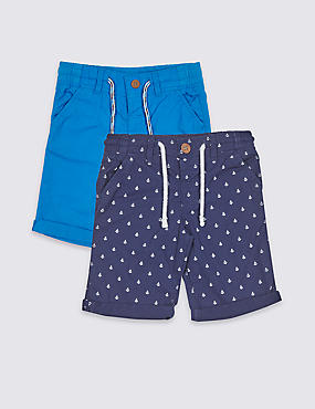 2 Pack Pure Cotton Shorts (3 Months - 7 Years)