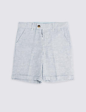 Navy Linen Shorts (3 Months - 7 Years)