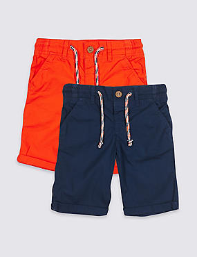 2 Pack Pure Cotton Shorts (3 Months - 7 Years), MULTI, catlanding