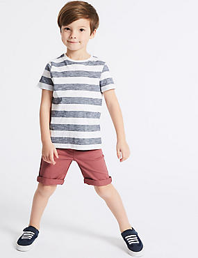 Cotton Chino Shorts with Stretch (3 Months - 7 Years), MULTI, catlanding