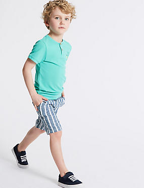 Pure Cotton Striped Shorts (3 Months - 7 Years), CHAMBRAY, catlanding