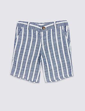 Pure Cotton Striped Shorts (3 Months - 7 Years)