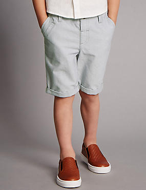 Pure Cotton Adjustable Waistband Textured Shorts (1-7 Years)