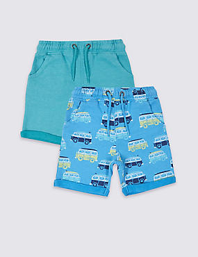 2 Pack Cotton Rich Shorts (3 Months - 5 Years)