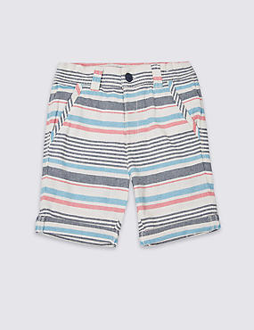 Pure Cotton Striped Shorts (3 Months - 5 Years)