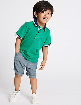 Pure Cotton Textured Woven Shorts (3 Months - 5 Years)
