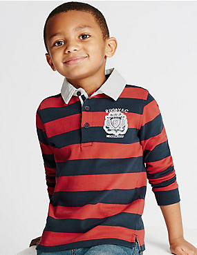 Pure Cotton Striped Rugby Top (1-7 Years)