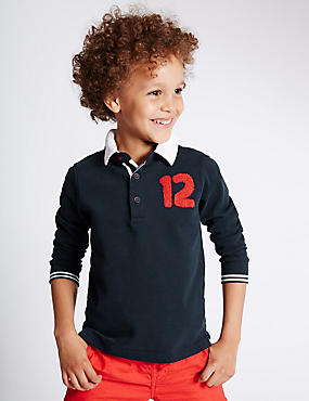 Pure Cotton Long Sleeve Rugby Top (1-7 Years)
