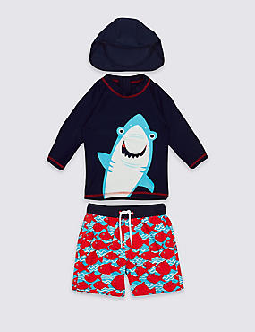 3 Piece Shark Print Swim Outfit (0-5 Years)