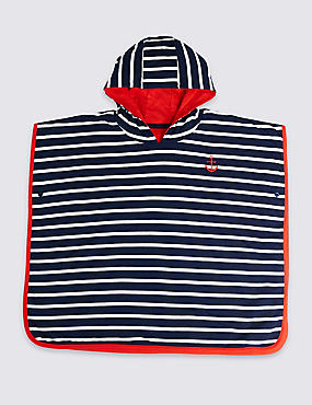Pure Cotton Striped Ponchos (3 Months - 7 Years), NAVY, catlanding