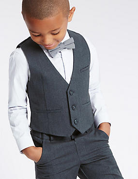 Pure Cotton 3 Piece Herringbone Waistcoat Outfit (1-7 Years)