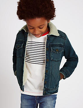 Borg Collared Denim Jacket (1-7 Years)