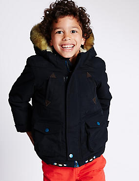 Faux Fur Hooded Parka Jacket (1-7 Years)