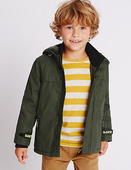 Pure Cotton Hooded Ripstop Jacket (1-7 Years)