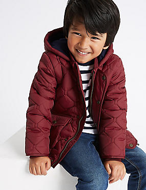 Hooded Neck Quilted Coat (3 Months - 7 Years), CLARET, catlanding
