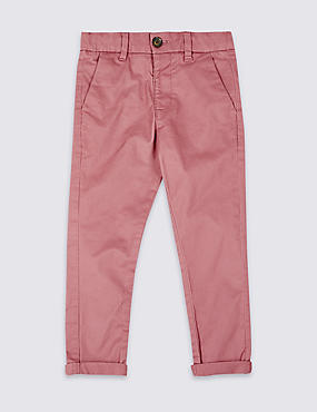 Cotton Chinos with Stretch (3 Months - 7 Years), PINK, catlanding