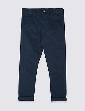 Cotton Chinos with Stretch (3 Months - 7 Years), NAVY, catlanding