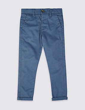 Cotton Chinos with Stretch (3 Months - 7 Years), DARK INDIGO, catlanding