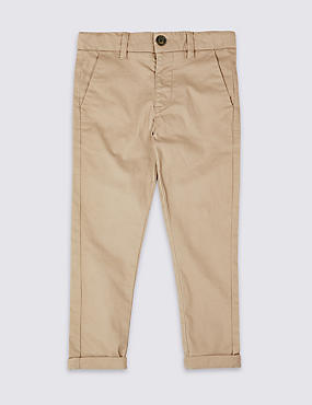 Cotton Chinos with Stretch (3 Months - 7 Years), STONE, catlanding