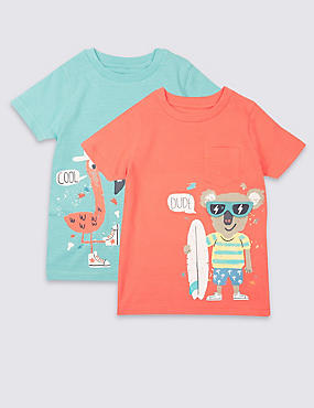 2 Pack Pure Cotton T-Shirts (3 Months - 5 Years)