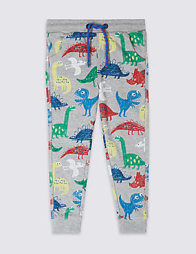 Cotton Rich Dinosaur Print Joggers (3 Months - 7 Years)