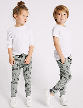 Cotton Rich Printed Joggers (3 Months - 7 Years), MULTI, catlanding