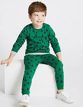 Cotton Rich Printed Joggers (3 Months - 7 Years), GREEN, catlanding