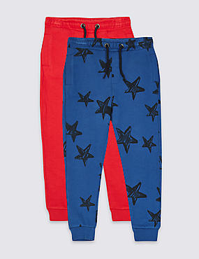 2 Pack Cotton Rich Joggers (3 Months - 7 Years), RED MIX, catlanding