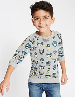 Pure Cotton All Over Print Sweatshirt (1-7 Years)
