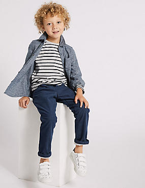 Cotton Cord Trousers with Stretch (3 Months - 7 Years), INDIGO, catlanding
