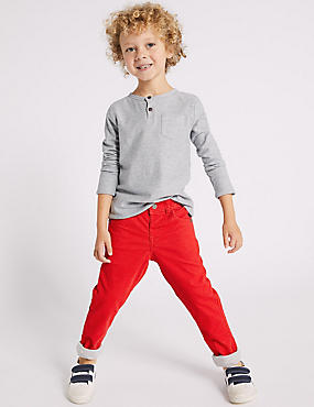 Cotton Rich Cord Trousers (3 Months - 7 Years), RED, catlanding