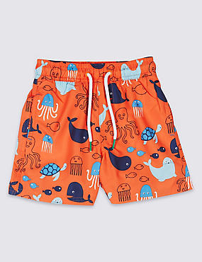 Swim Shorts with Sun Safe UPF50+ (3 Months - 7 Years), POPPY, catlanding