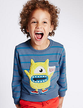 Monster Appliqué Pure Cotton Striped Jumper