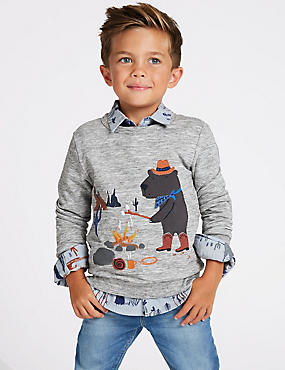 Cotton Rich Printed Sweatshirt (3 Months - 7 Years), GREY, catlanding