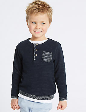 Cotton Rich Textured Sweatshirt (3 Months - 7 Years), NAVY, catlanding