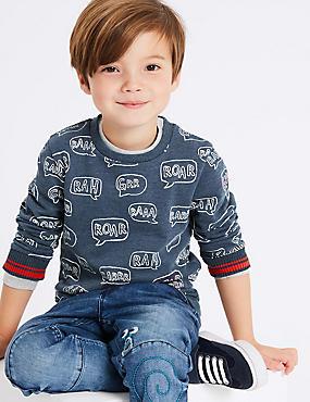 Roar Sweatshirts (3 Months - 7 Years), NAVY MIX, catlanding
