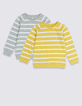 2 Pack Striped Sweatshirts 3 Months 7 Years