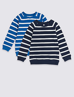 2 Pack Striped Sweatshirts (3 Months - 7 Years), GREY MARL, catlanding