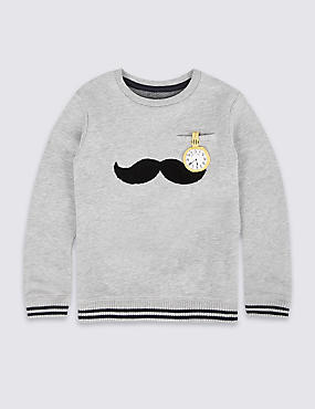 Cotton Rich Moustache Sweatshirt (3 Months - 6 Years)