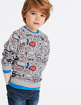 Cotton Rich All Over Print Sweatshirt (3 Months - 7 Years), MULTI, catlanding