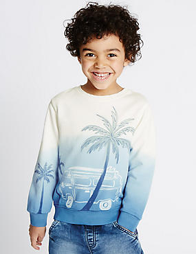 Pure Cotton Car & Palm Tree Print Dip Dye Sweatshirt (1-7 Years)