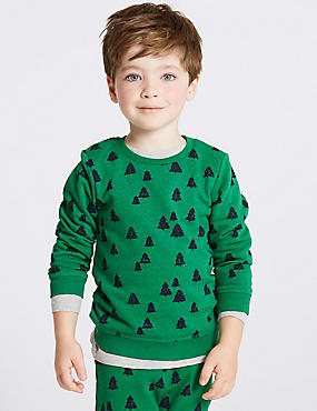 Cotton Rich Sweatshirt (3 Months - 7 Years), GREEN, catlanding