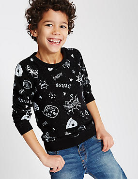 Cotton Rich All Over Print Sweatshirt (1-7 Years)