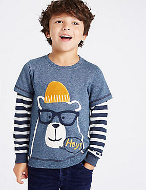Appliqué Sweatshirt with Waffle Sleeves (1-7 Years)
