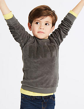 Cotton Rich Happy Towelling Sweatshirt (3 Months - 7 Years)